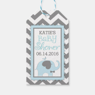 Blue Elephant Bow-tie Bird Chevron Baby Shower Gift Tags