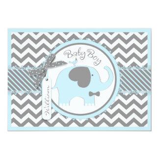 Blue Elephant Bow Tie Chevron Print Baby Shower 13 Cm X 18 Cm Invitation Card