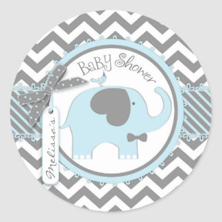 Blue Elephant Bow-tie Chevron Print Baby Shower Classic Round Sticker