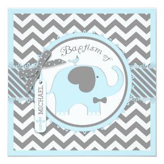 Blue Elephant Bow Tie Chevron Print Baptism 13 Cm X 13 Cm Square Invitation Card