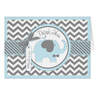 Blue Elephant Bow Tie Chevron Print Thank You Card