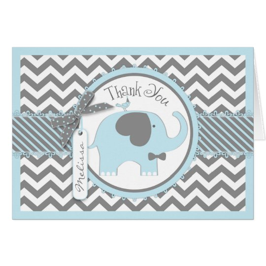 Blue Elephant Bow Tie Chevron Print Thank You