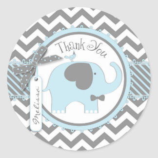 Blue Elephant Bow-tie Chevron Print Thank You Classic Round Sticker