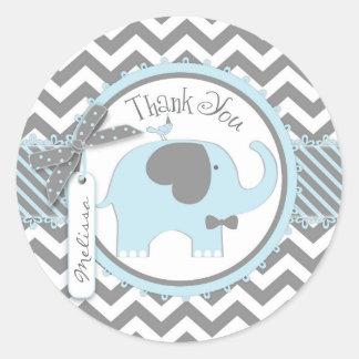 Blue Elephant Bow-tie Chevron Print Thank You Round Sticker