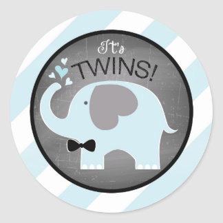 Blue Elephant Bow-tie Diagonal Stripe Baby Shower Round Sticker