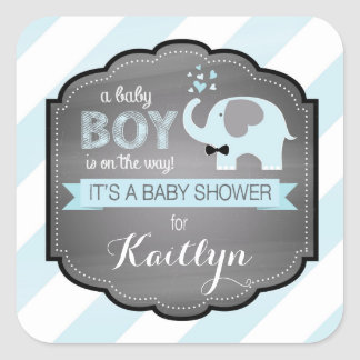 Blue Elephant Bow-tie Diagonal Stripe Baby Shower Square Sticker
