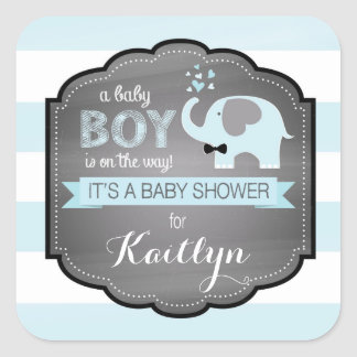 Blue Elephant Bow-tie Stripe Baby Shower Square Sticker