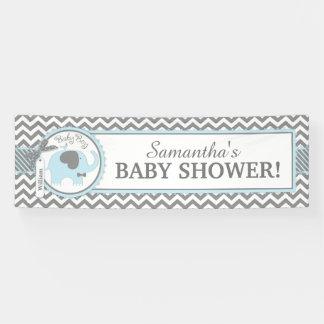 Blue Elephant Boy Chevron Baby Shower Banner