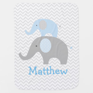 Blue Elephant Chevron Personalized Baby Blanket