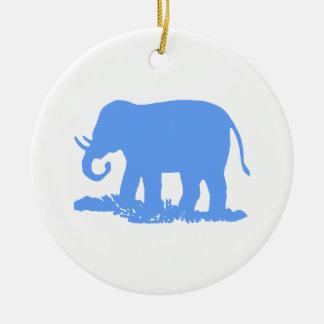 Blue Elephant Christmas Ornament