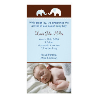 Blue Elephant Custom Photo Birth Announcements Card
