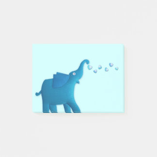 blue elephant heart post-it notes