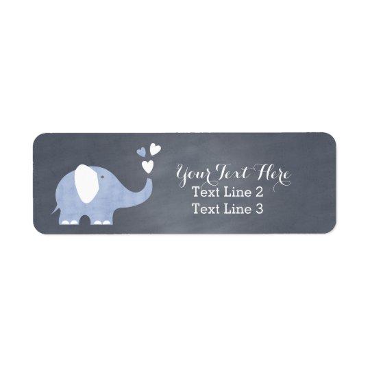 Blue Elephant Heart Return Address Label