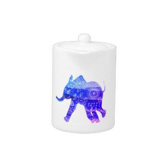 Blue Elephant Mandala Art Small Teapot