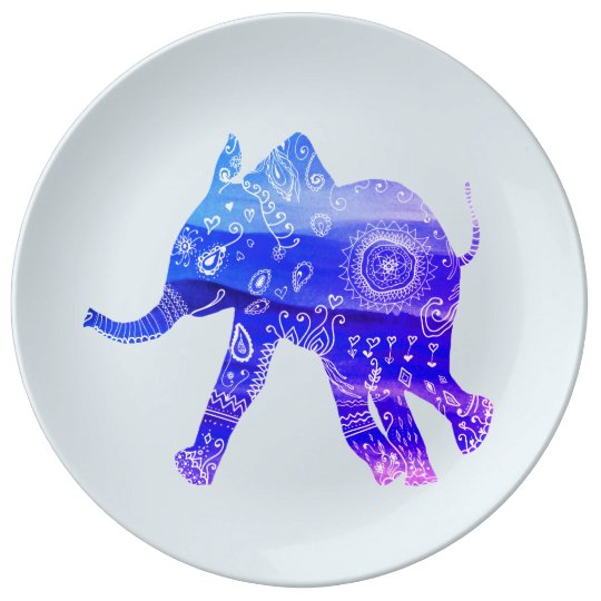 Blue Elephant Mandala Decorative Porcelain Plate