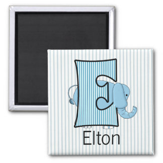 "Blue Elephant Monogram ""E"" Child's Back to School Magnet"