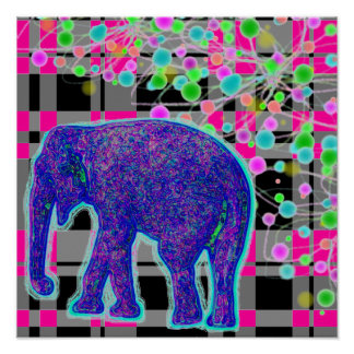 Blue Elephant on Pink Plaid Background Poster