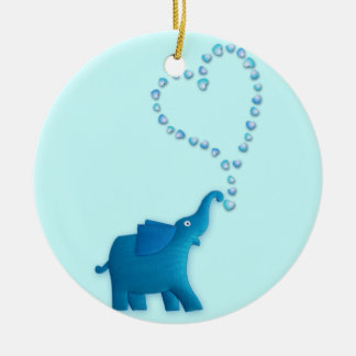 blue elephant round ceramic decoration