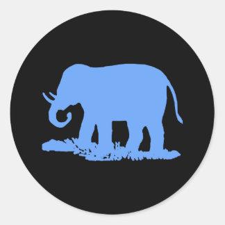 Blue Elephant Round Sticker