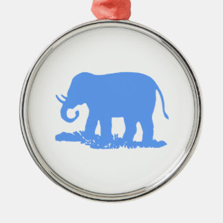 Blue Elephant Silver-Colored Round Decoration