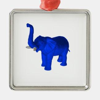 Blue Elephant Silver-Colored Square Decoration