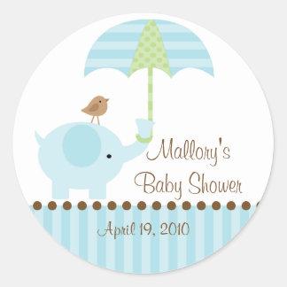 Blue Elephant Umbrella Baby Shower Sticker