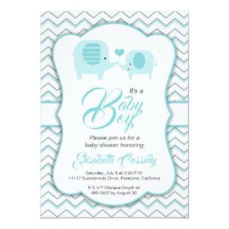Blue Elephant White Chevron Baby Shower Invitation