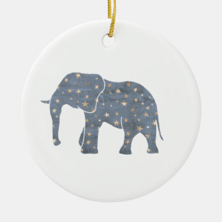 Blue Elephant with Gold Stars Christmas Ornament