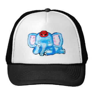 Blue Elephant with Pink Ears and Red Hat