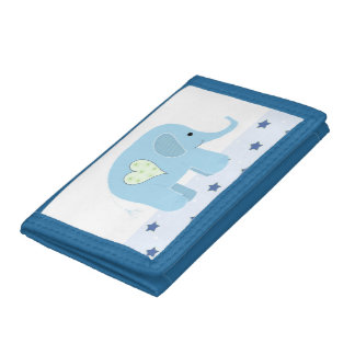 Blue Elephant with Stars Trifold Wallet
