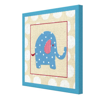 Blue Elephant with White Polka Dots Canvas Print
