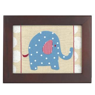 Blue Elephant with White Polka Dots Keepsake Box