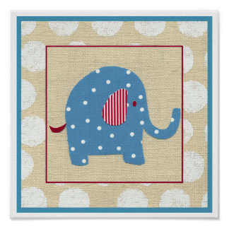 Blue Elephant with White Polka Dots Poster
