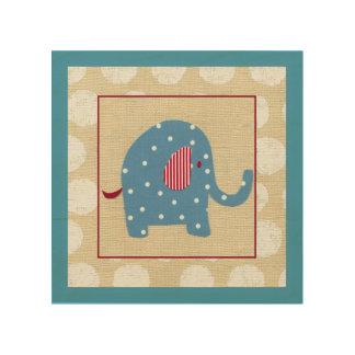 Blue Elephant with White Polka Dots Wood Wall Decor
