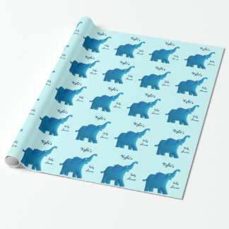 blue elephant wrapping paper