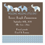 "Blue Elephants Baby Announcement 5.25"" Square Invitation Card"
