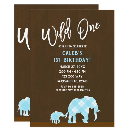 Blue Elephants Brown Modern WILD ONE 1ST Birthday