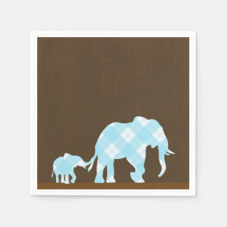 Blue Elephants Brown Trendy Modern Baby Shower Disposable Napkin