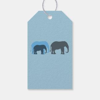 Blue Elephants Gift Tag