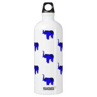 Blue Elephants Pattern Water Bottle