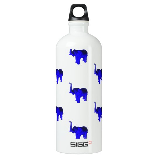 Blue Elephants Pattern Water Bottle