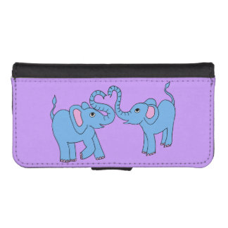 blue elephants phone wallet case
