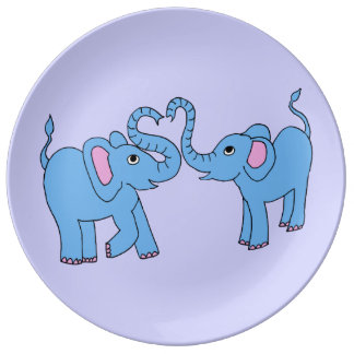 blue elephants porcelain plate