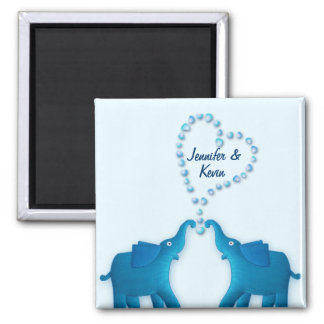 blue elephants square magnet