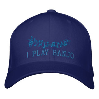 Blue Embroidered I Play Banjo Music Cap
