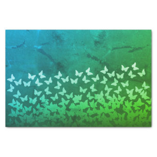 Blue, emerald green color butterflies pattern tissue paper