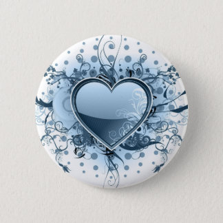 Blue Emo Heart  Button