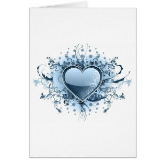 Blue Emo Heart  Greeting Card