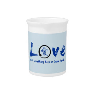 Blue enso zen circle, Japanese symbol for love Pitcher