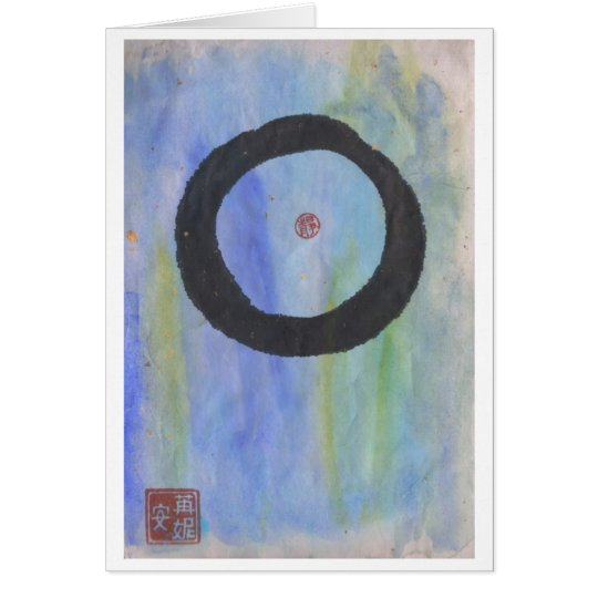 Blue Enso (Zen Circle) of Tranquillity Blank Card